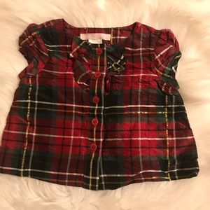 Janie and Jack plaid silk top 3-6 months